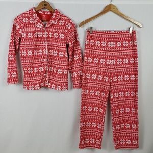 Carter's Flannel Pajamas Girls 12 Snowflakes 2 Pc
